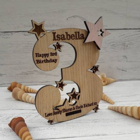 Personalised Third 3rd Birthday Card Oak Wooden Keepsake Gift
